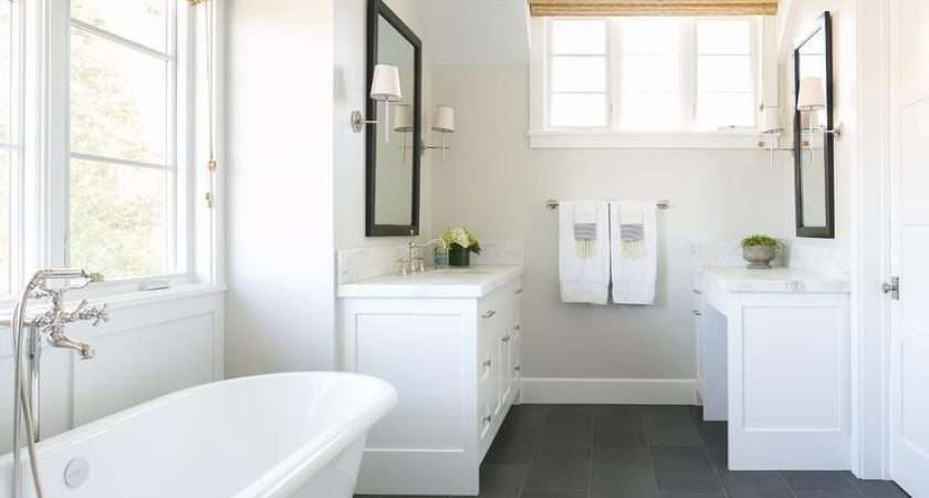 White Bathroom Slate Floor Transitional