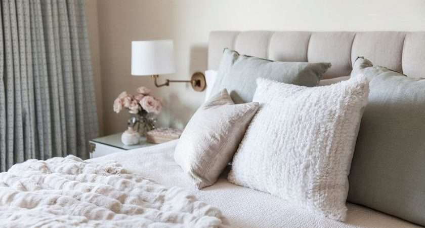 White Beige Bedroom Tufted Headboard Grey Linen Shams