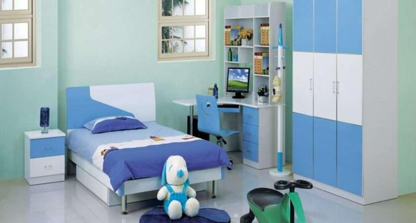 White Blue Arranging Kids Bedroom Along Single Bed
