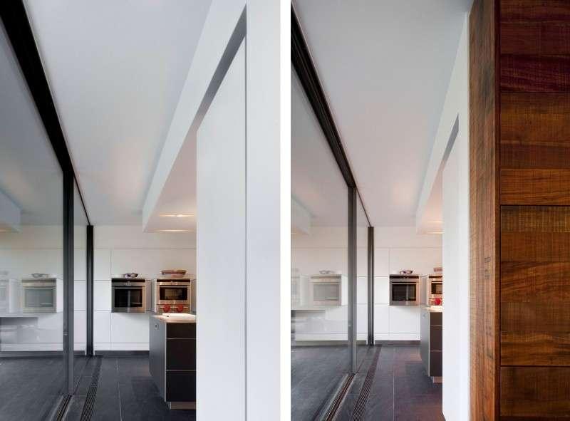 White Ceiling Grey Tile Floor Wall Glass Windows