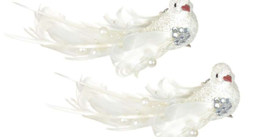 White Clip Glitter Feather Birds Christmas Tree Decorations