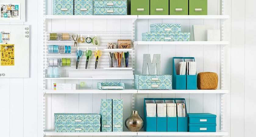 White Elfa Craft Room Shelving Container Store
