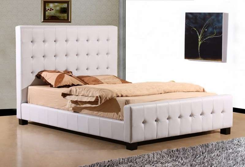 White Faux Leather Double Bedstead Joseph Crystal Bed