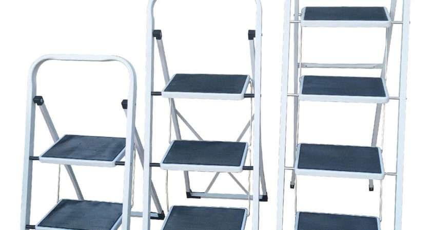 White Foldable Kitchen Safety Ladder Step Non Slip Tread