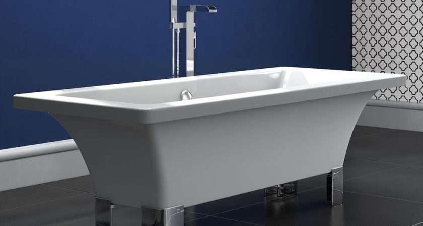 White Freestanding Roll Top Bath Tub Modern