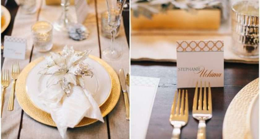 White Gold Table Settings Design Decoration