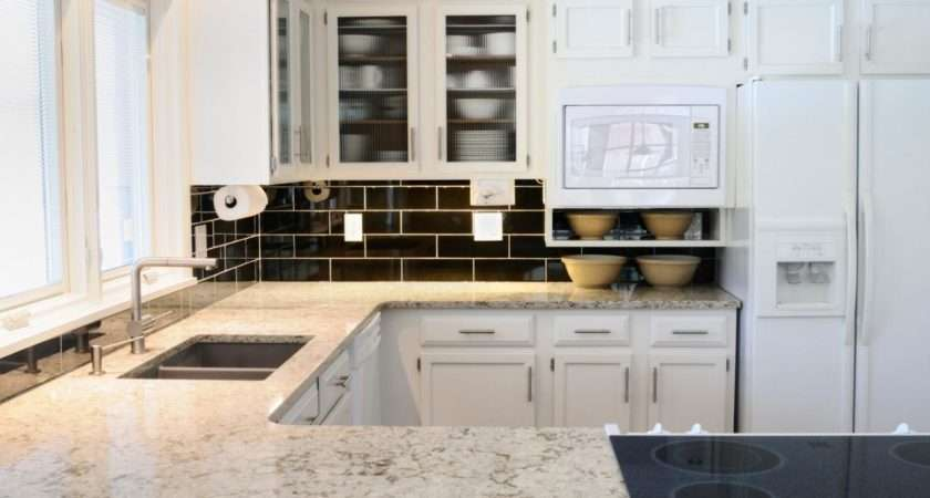 White Granite Countertops Kitchen Cabinets Black Tiled