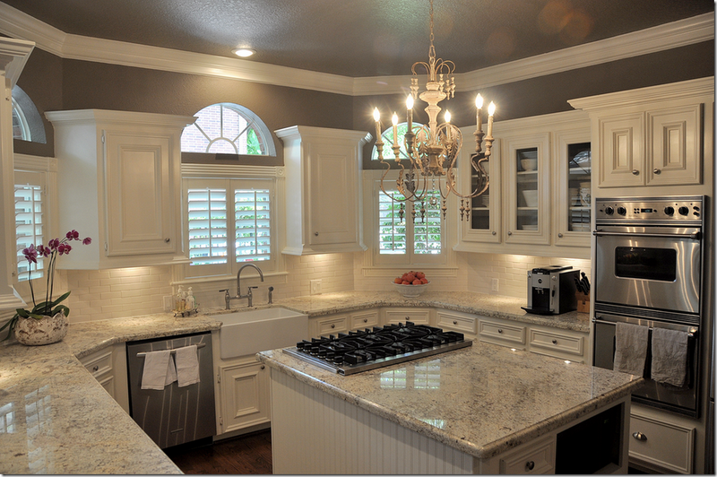 White Gray Granite Cabinets Cream Backsplash Walls