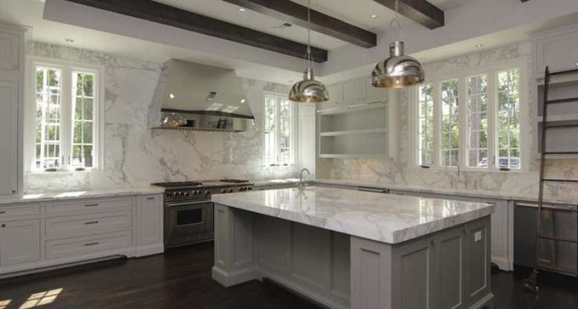 White Gray Kitchen Polished Nickel Pendants Over