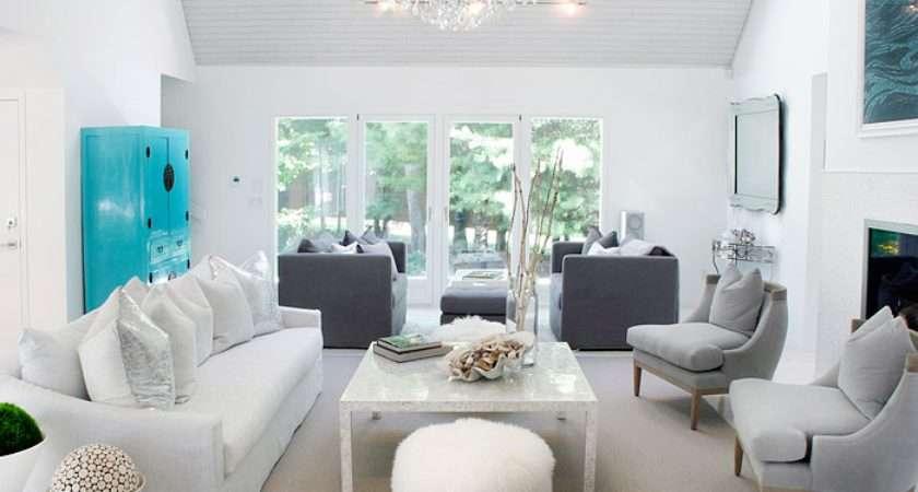 White Gray Living Room Contemporary Elsa Soyars