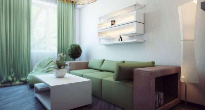White Green Living Room Interior Design Ideas