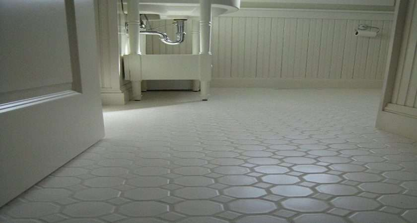 White Hexagon Concrete Bathroom Floor Tile Flooring