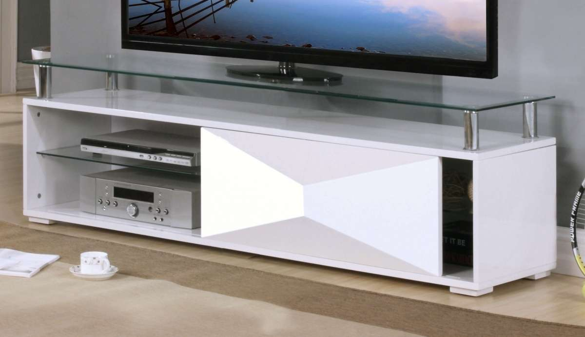 White High Gloss Television Unit Glass Top Homegenies