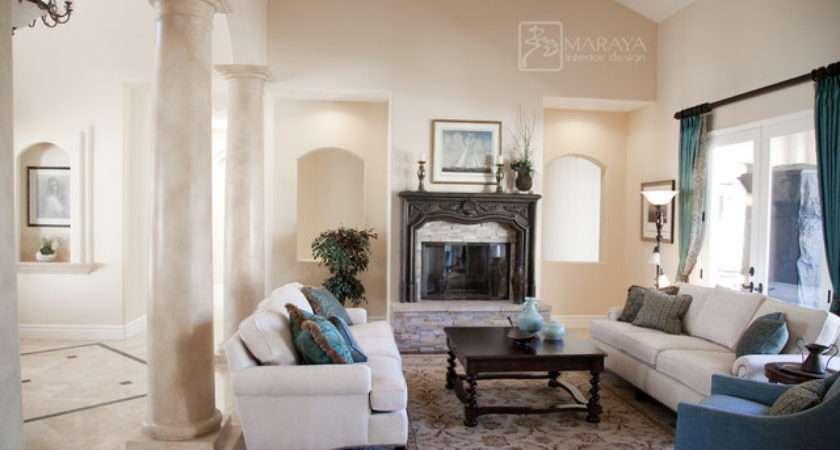 White Italian Living Room Mediterranean