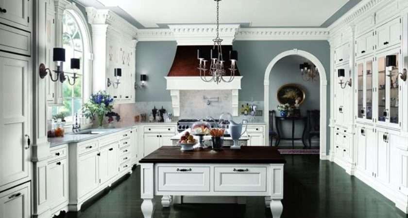 White Kitchen Dark Floor Tiff