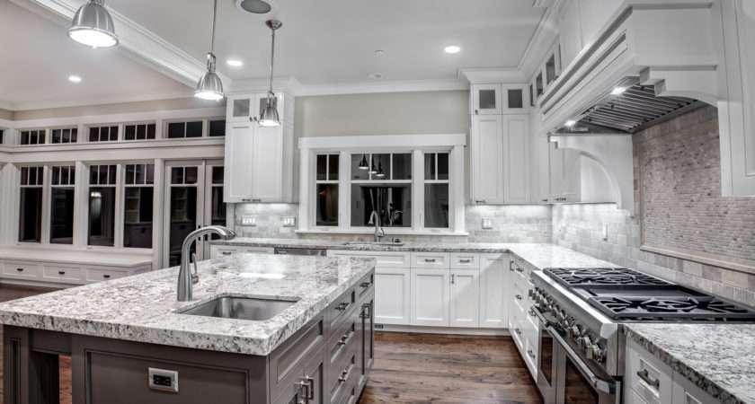 White Kitchen Granite Counters Finish