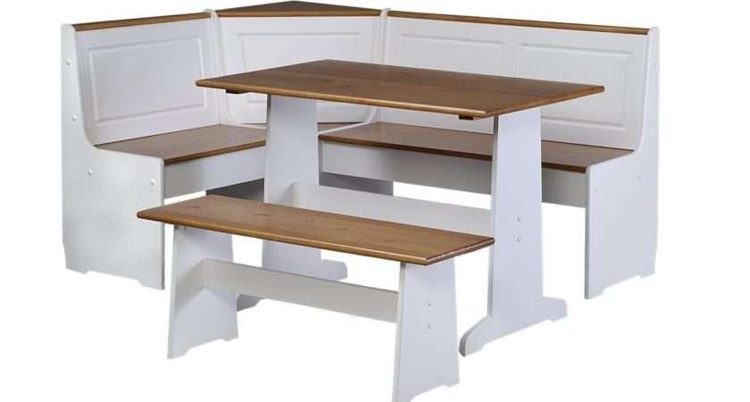 White Kitchen Table Corner Bench Set Piece Packagefeatures