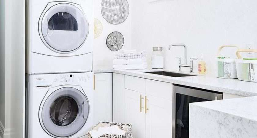 White Laundry Room Cabinets Brushed Brass Octagon