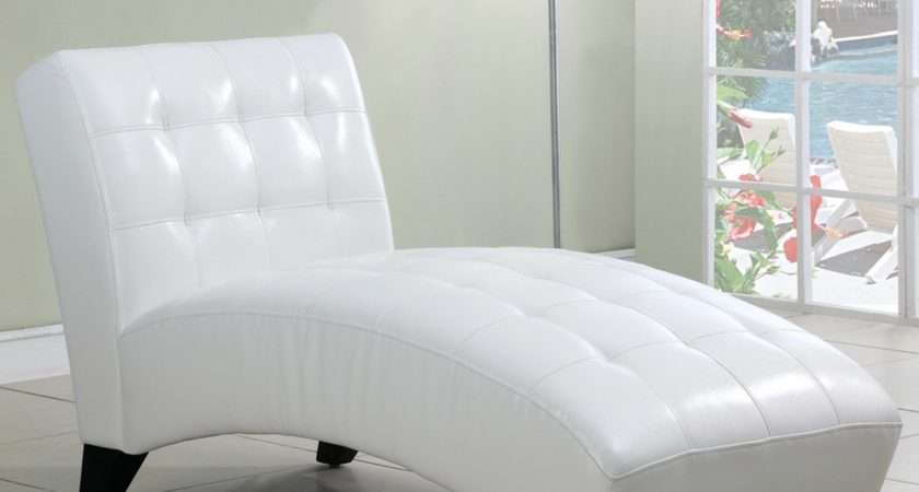 White Leather Chaise Lounge Chair Curved Base