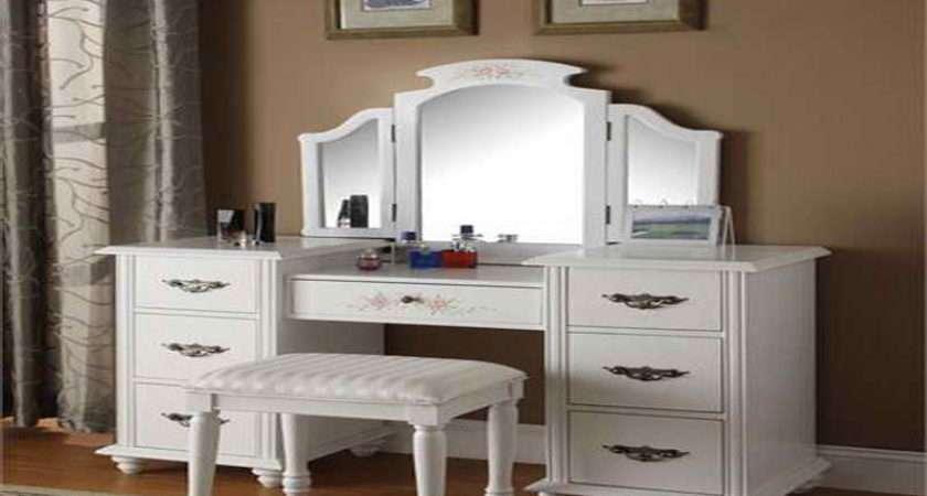 White Makeup Vanity Table Set Bench