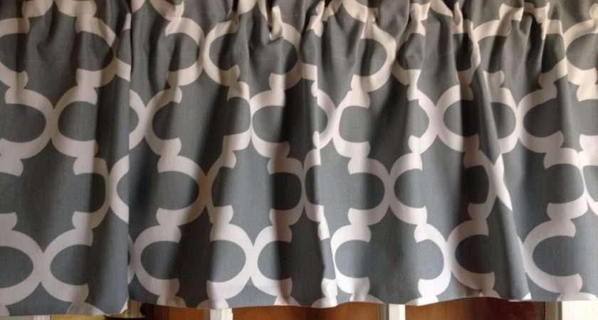 White Moroccan Quatrefoil Trellis Lattice Valance Curtain Lined