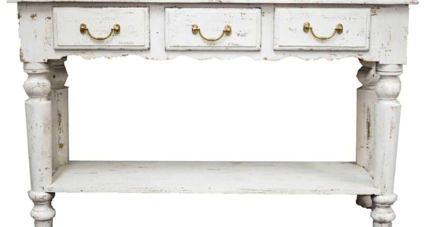 White Shabby Chic Painted French Country Timber Hall Table