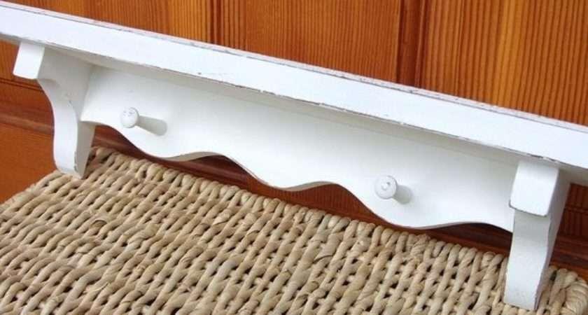 White Shabby Chic Wood Wall Shelf Peg Hanging Ooak