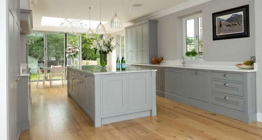 White Shaker Kitchen Cabinets Grey Floor Home Design Ideas