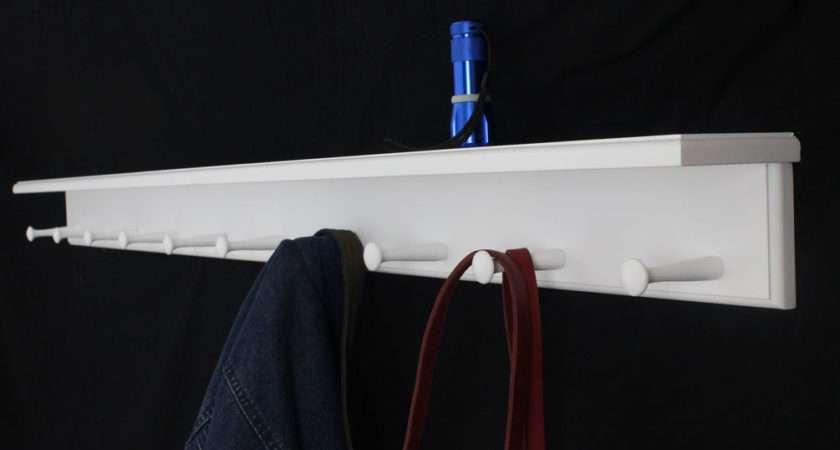 White Shaker Peg Racks Shelf Made Usa
