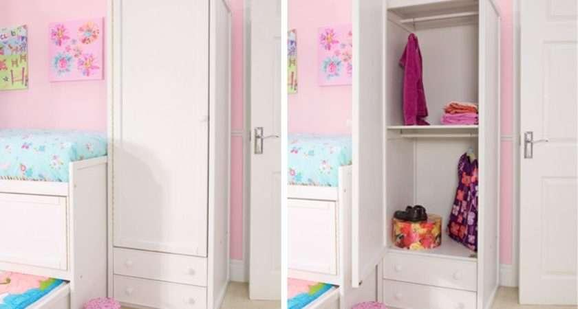 White Single Combi Wardrobe Childrens Bed Centres