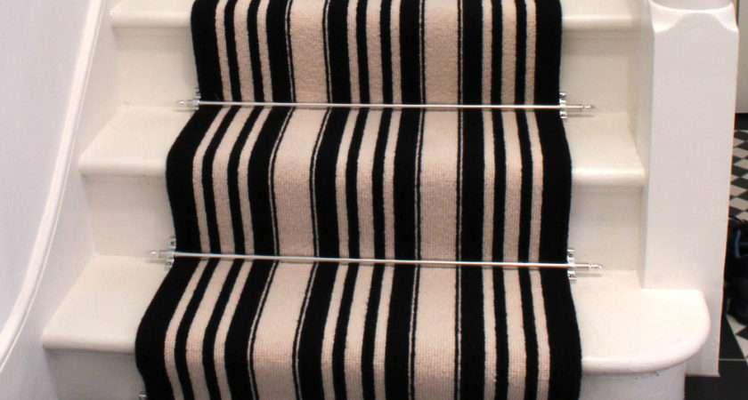 White Striped Stair Carpet Black