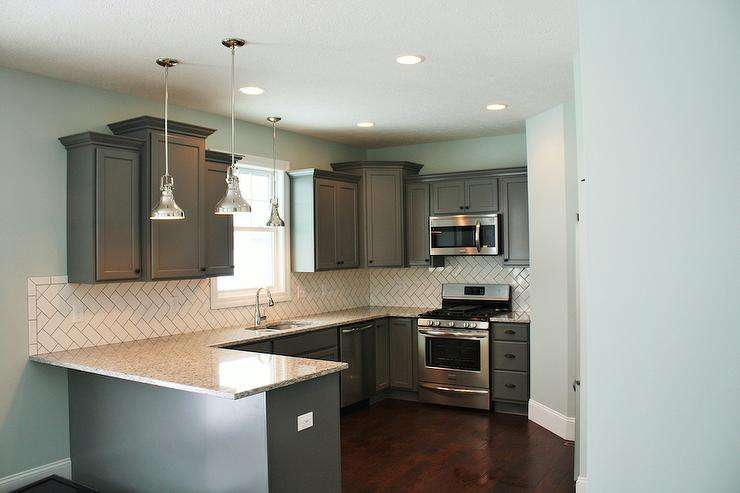 White Subway Tile Herringbone Backsplash Tiles Transitional Kitchen