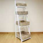 White Tier Wooden Ladder Shelf Display Unit Natural