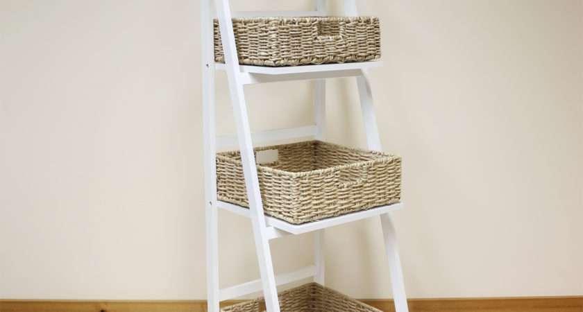 White Tier Wooden Ladder Shelf Display Unit Natural