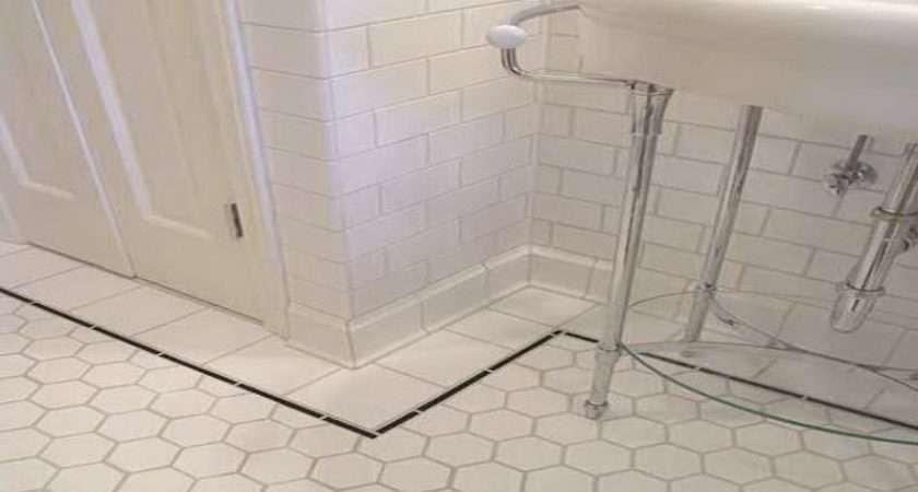White Tile Bathroom Floor Floors