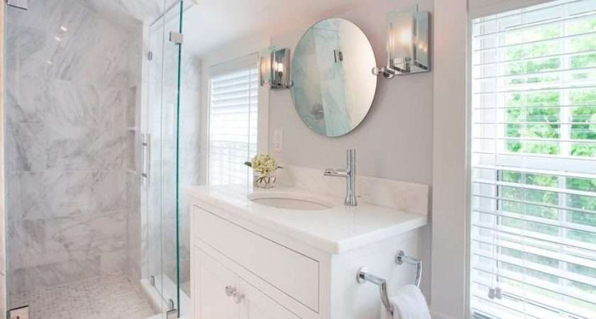 White Vanity Round Pivot Mirror