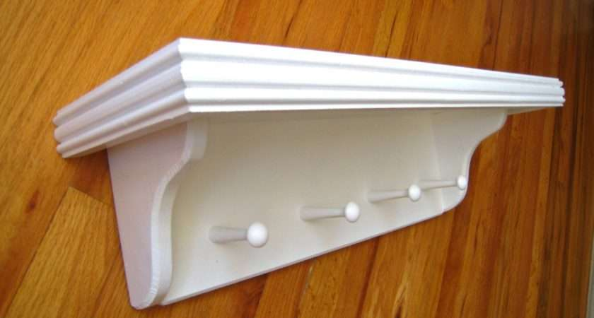 White Wall Shelf Shaker Pegs Nursery Kids Back