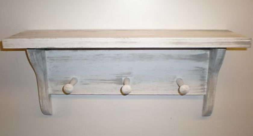 White Weathered Look Peg Shaker Shelf Primitive Rustic
