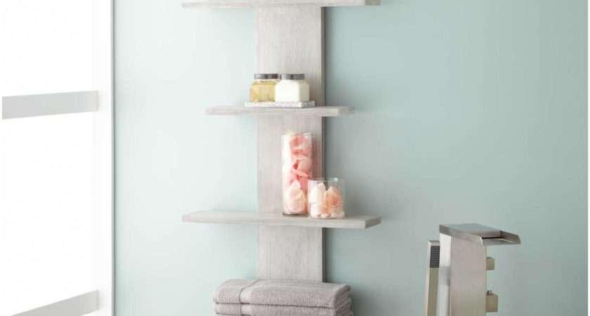 White Wood Bathroom Wall Shelf