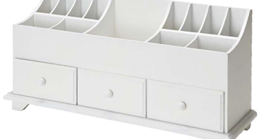 White Wooden Desk Tidy Organiser Caddy Pen Holder