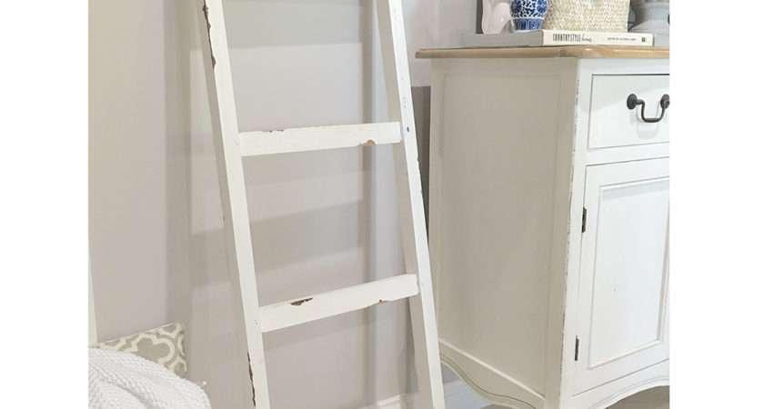 White Wooden Ladder Storage Shelf Timber Kitchen Bathroom