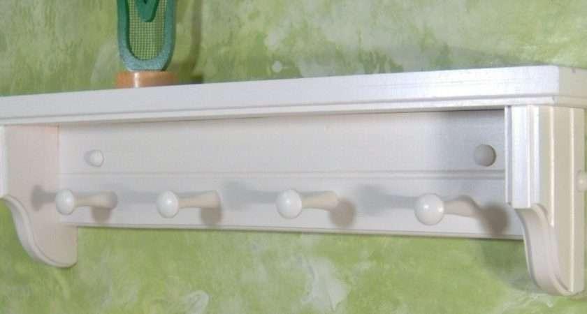 White Wooden Shelf Knik Knack Plates Pegs