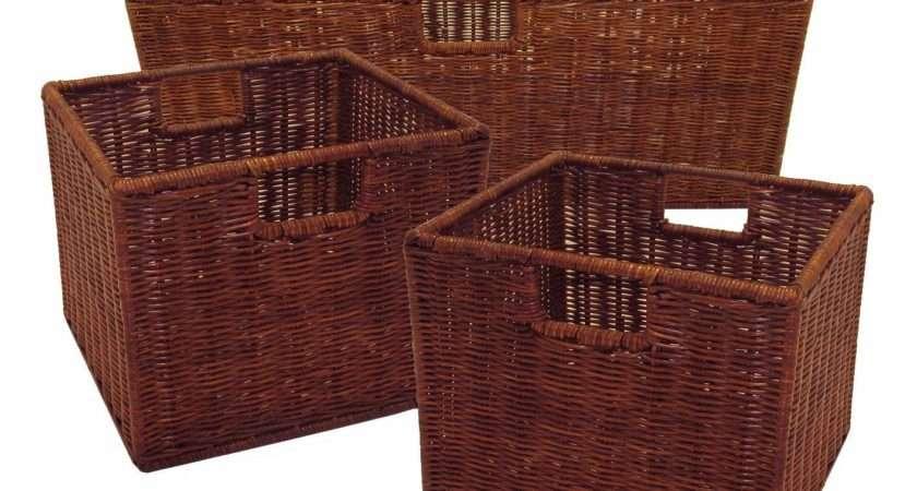 Wicker Storage Baskets Large Rectangular Small Square Bins