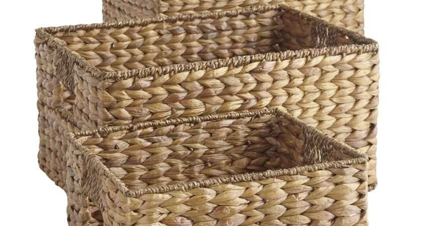 Wicker Storage Baskets Shelves Design Decoration