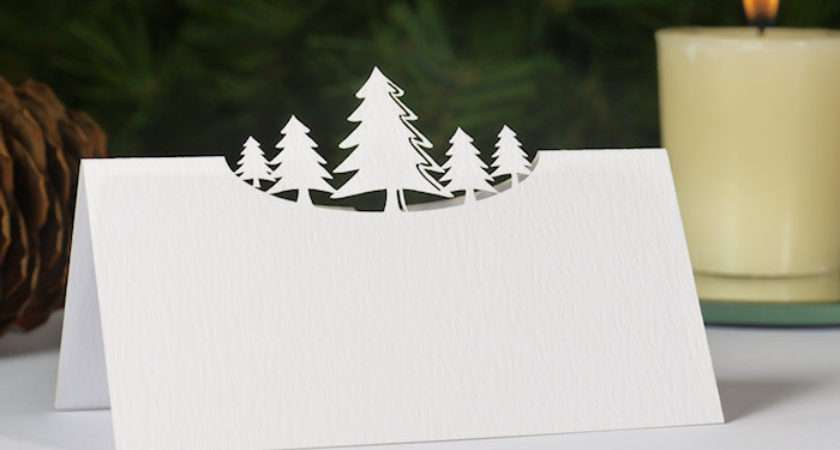 Winter Wonderland Laser Cut Christmas Name Place Cards Pack White