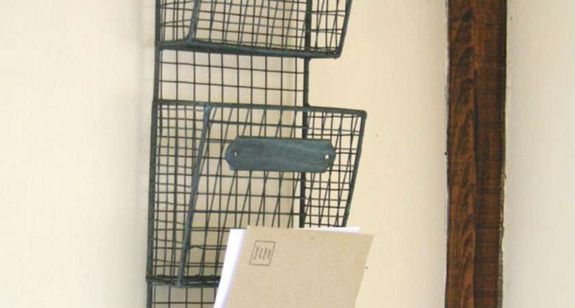 Wire Letter Post Stationery Rack Basket Vintage Chic