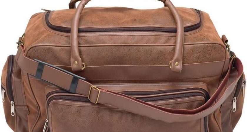 Womens Faux Leather Duffle Bag Brown Overnight Carry
