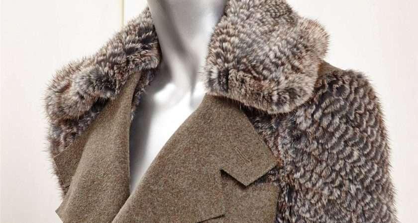 Womens Olive Green Wool Gray Mink Fur Belted Jacket Coat Ebay