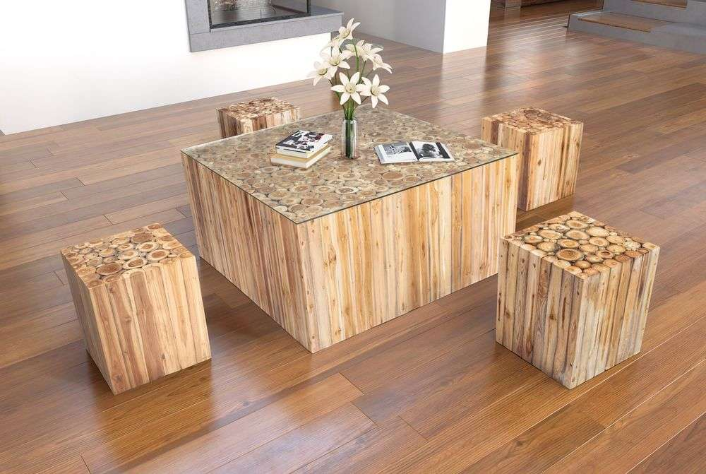 Wood Coffee Table Modern Solid Tree Antique Country Cottage Cabin Log