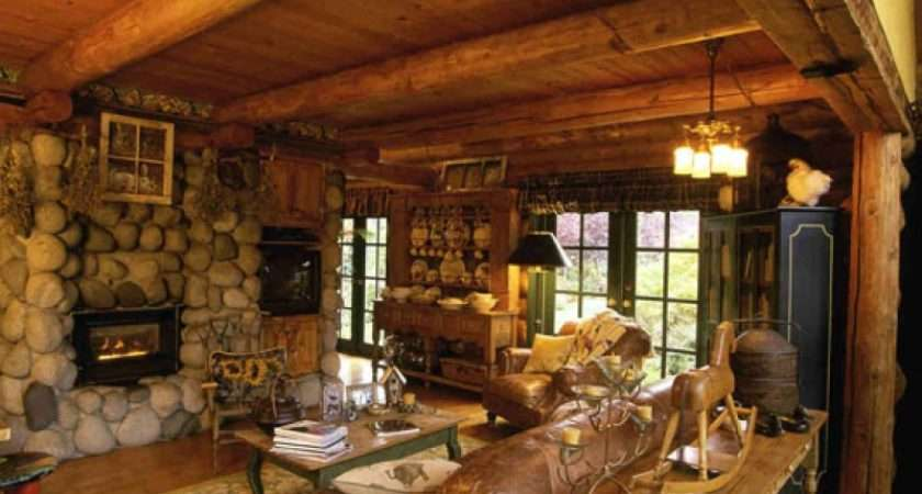 Wooden Country Cottage Living Room Interior